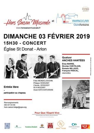 Concert  Quatuor Anches Hantées à St Donat